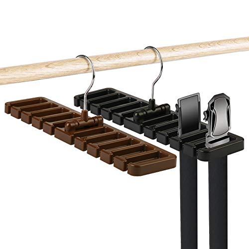 ZoomSky 2er Gürtelhalter Scarfs Belt Rack Organizer Kunststoff Krawattenhalter platzsparende Kleiderschrank Aufbewahrung für 20 Gürtel/Schals/ Krawatte