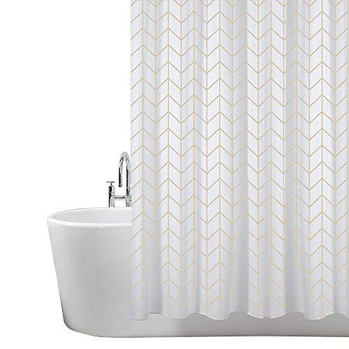 Duschvorhang, Badezimmer, Badewanne, Umweltfreundlich, Waschbarer, Anti-Schimmel, Anti-Bakteriell, Schimmelresistent Duschvorhang - Fischgräten Muster- 180 x 180 cm (71 x 71 Zoll) | 100% Polyester