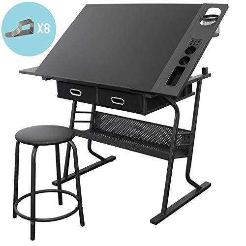 Stationery Island TIREE Zeichentisch zum Malen und Basteln – Kippbarer schwarzer Zeichentisch mit Stauraum, Hocker und