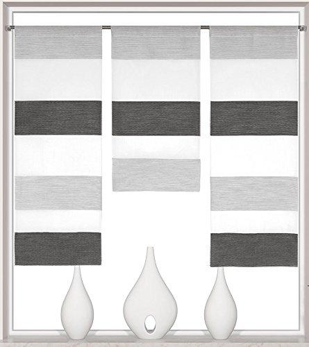 Design Mini Flächenvorhang Set anthrazit 2280 | 3 Teile | Scheibengardine Gesamtbreite 90cm (3x30cm) Höhe 80/60/80cm