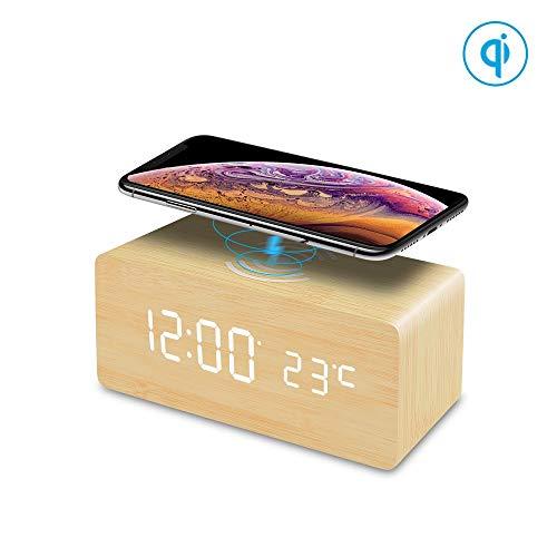 FiBiSonic LED Holz Wecker digital mit Temperaturanzeige, digital Uhr Holzwecker Uhr Tisch Design Wecker Dekoration Schlafzimmer Uhr Alarm Clock Bambus