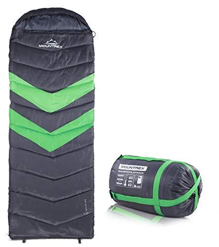MOUNTREX Schlafsack für Camping & Outdoor | 3 Jahreszeiten Warmer Deckenschlafsack 205 x 75cm | 1.6 Kg | Koppelbar - Rechts
