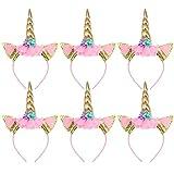 TOYMYTOY 6 Stück Einhorn Stirnband Gold Horn Haarreif Haarband Kopfschmuck Blumenmädchen Haarschmuck für Geburtstag Geschenk Karneval Hochzeit Party Dekoration