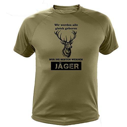 Jäger T shirt, Hirsche, Vir werden alle gleich geboren, Jagd Geschenke (20149, Grun, M)