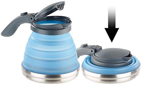 Rosenstein & Söhne Faltbarer Wasserkocher: Faltbarer Silikon-Camping-Wasserkessel mit Edelstahlboden, 800 ml (Faltkanne)