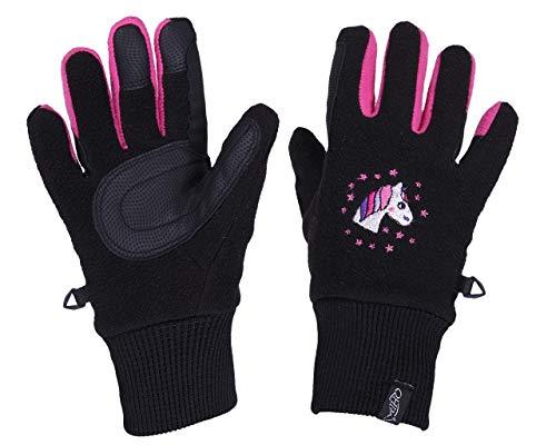 QHP Fleece-Reithandschuhe Fresco Handschuhe Druckmotiv Touchscreennutzung (Junior 2, Schwarz)