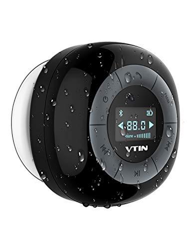 VTIN Relaxer-Duschlautsprecher mit FM-Radio, wasserdichtes Bluetooth-Duschradio, LCD-Anzeige, 10 Stunden Spielzeit, eingebautes Mikrofon, mit Saugnapf, Mini drahtlose Lautsprecher für das Bad