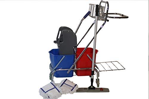 cleanSv Reinigungswagen Putzwagen Dofa 20 Plus mit Mop Set Magic Click 50 cm + 3 Baumwollmop