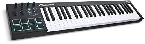Alesis V49 USB MIDI Pad/Tastatur Controller mit 49 Tasten, 8 anschlagdynamische-Pad mit 4 zuweisbare Regler und Taster