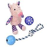 Navaris 3in1 Hundespielzeug Spielset - Hunde Spielzeug Set mit Schwein Quietsch Plüschtier Zahnpflege Snackball Seilspielzeug - auch für Welpen
