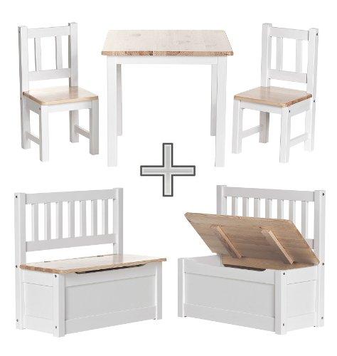 Original IMPAG Kinder-Sitzgruppe | 1 Tisch, 2 Stühle, 1 Sitzbank inkl. Stauraum | Nordische Kiefer | Kinderzimmer in Top Möbel-Qualität | 4 Varianten