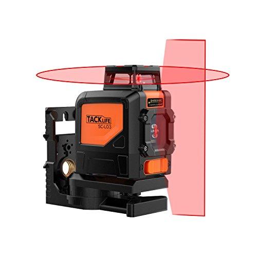 Tacklife SC L03 Klassischer Kreuzlinien-Laser mit Messbereich 30M und Neigungsfunktion, 360 Grad Horizontaler Linie, Linienlaser IP 54 ( inkl. Schutztasche, Magnetische schwenkbare Haltung)