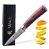 Wakoli Edib Damastmesser - sehr hochwertiges Profi Messer mit Edelholz Griff mit Damast Klinge, Damastmesser Officemesser, Damastküchenmesser