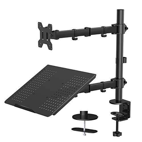 HUANUO Monitor Arm mit Laptop-Halterung, Volleinstellbar für 13 bis 27 Zoll LCD LED Bildschirm & bis 15.6 Zoll Notebook, 2 Montageoptionen