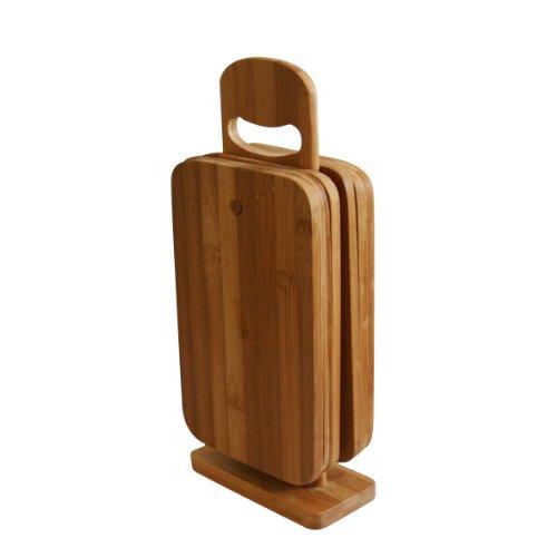 axentia Schneidebrett-Set 7 teilig - 6 Brettchen aus Bambus-Holz - Brettchenständer mit Frühstücksbrettchen - Holzbrett hohe Schnittfestigkeit & schonend für Messerklinge - Brett für Küche