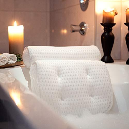 SUMTIX Badewannenkissen-Set Badekissen inkl. Peelinghandschuh & Tragetasche Wannenkissen | Kissen für Badewanne