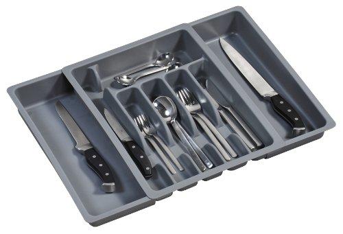 Kesper 30087 Besteckkasten ausziehbar, Kunststoff, Maße: 29 -50 cm x 38 x 6.5 cm, grau