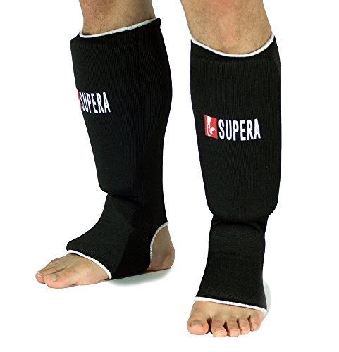 Supera Schienbeinschützer Training für Kampfsport - Schienbeinschutz und Fußschutz - MMA, Muay Thai, Thai Boxen, Kickboxen, Grappling - Schienbeinschoner mit dicker Polsterung für härtere Kicks! (schwarz , Größe M - junior)