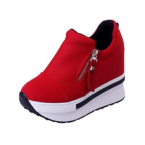 Damen Sneaker Mädchen Mode Laufschuhe Freizeit Leder Freizeitschuhe Sportschuhe mit Reißverschluss... (EU:36, Rot-A)