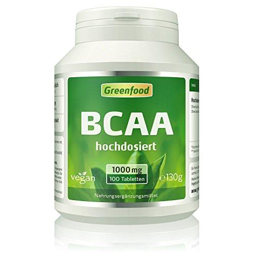 BCAA, 1000 mg, hochdosiert, 100 Tabletten, vegan – die effektivsten Aminosäuren für den Aufbau von Muskelmasse. OHNE künstliche Zusätze. Ohne Gentechnik.
