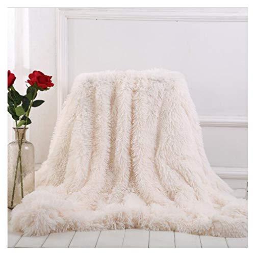 ARKEY Kuscheldecke Weiß Felldecke 160 * 200cm Langhaar Decke Microfaser Kunstfell TV Decke Flauschig Klimaanlage Decke für Couch Bett