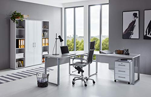 BMG-Moebel.de Büromöbel komplett Set Arbeitszimmer Office Edition in Lichtgrau/Weiß Hochglanz (Set 3)