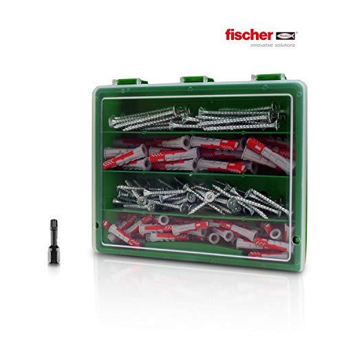 160tlg Sortiment Fischer Dübel DuoPower und TORX Senkkopf-Schrauben plus passender IMPACT Bit in einer Kunststoffbox 6mm, 8mm Fischerdübel Fischer Powerfast Schrauben