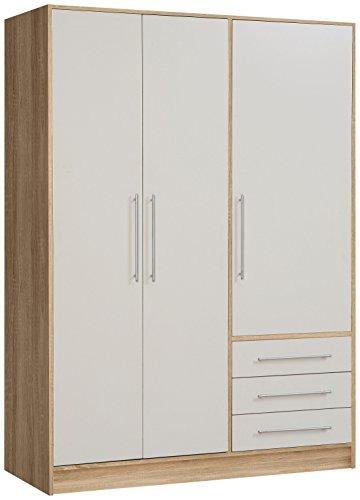 NEWFACE Jupiter Kleiderschrank 3-türig, 3 Schubkästen, Holz, sonoma eiche + weiß, 144.6 x 60 x 200 cm