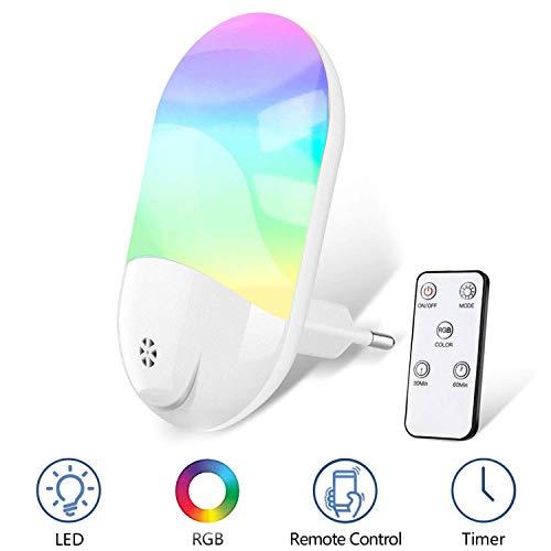 Nachtlicht Steckdose,RGB LED Nachtlicht Baby mit Fernbedienung, Zeitgesteuert, 8 Farben einstellbar und warmweiß umschaltbar, für Babyzimmer, Schlafzimmer, Flur, Küche, Bad [Energieklasse A +++]