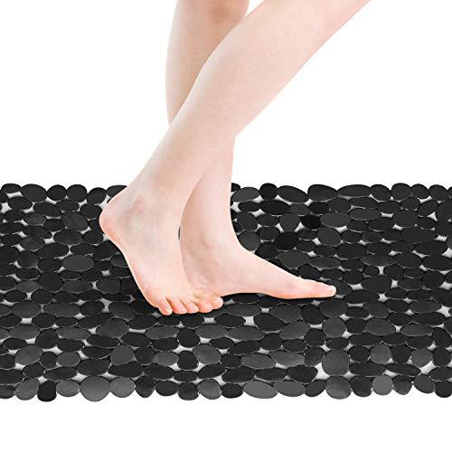 RenFox Duschmatte Badematte Badewannenmatte rutschfest Antibakteriell mit Saugnäpfen & Massage Ball, Steinoptik Duschmatten Dusche Schwarz 88 x 40 cm