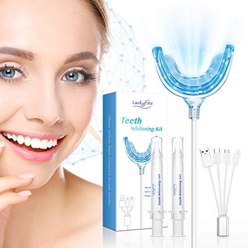 Hochwertiges Teeth Whitening Kit, Luckyfine Professionelle Zahnaufhellung Set zu Hause Zahnweiß-Bleichsystem, Zahnreinigung, Wiederverwendbares Home Bleaching Kit für Weisse Zähne