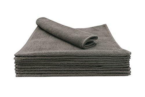 ZOLLNER 10er Set Gästetücher / Gästehandtücher 30x50 cm aus 100% Baumwolle, taupe, in weiteren Farben und Größen erhältlich, direkt vom Hotelwäschespezialisten, Serie 'Elba II'