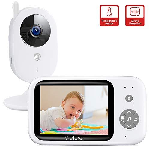 Victure Video Babyphone mit Kamera, Baby Monitor/Baby Überwachungskamera, 3.2' TFT LCD Digital Bildschirm Nachtsichtkamera Temperaturüberwachung Gegensprechfunktion Sound-aktivieren Schlaflieder