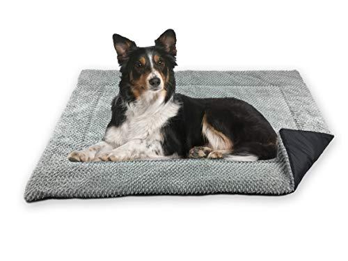 FLUFFINO Hundedecke - Flauschig, Weich u. Waschbar (Größe M, 88 x 55 cm, grau)- erhöhte Rutschfestigkeit durch Gumminoppen - Für große u. kleine Hunde o. Katzen - Hundematten/Hundekissen, Katzendecke