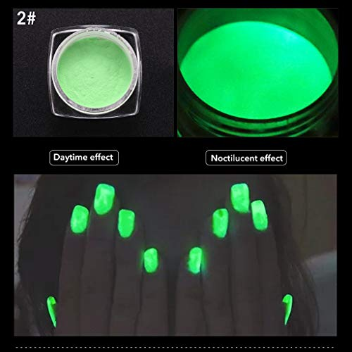 VANMO 6-farbiger Leuchtstoff,Neon Colors Bright Nail Polish Powder Glow Dust Luminous Pigment,1 Schachtel Nagellack + 1 Pinsel
