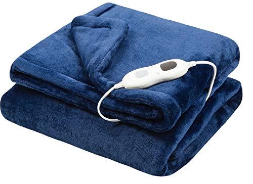 Plüsch Fleece XXL Blau 160 x 130 Heizdecke Elektrische Wärmebett Wärmeunterbett Wärmedecke mit Abschaltautomatik & Überhitzungsschutz & Timer waschbar (Blau 160 x 130)