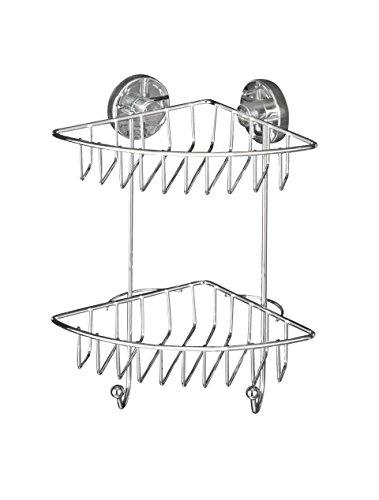 WENKO 20888100 Vacuum-Loc Eckregal Bari 2 Etagen - Befestigen ohne bohren, Stahl,16 x 29.5 x 22.5 cm, Chrom