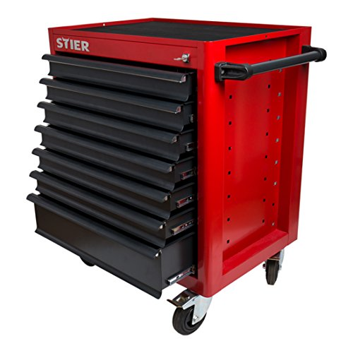 STIER Werkstattwagen | unbestückt - leer | Werkzeugwagen | Montagewagen | kugelgelagerte Schubladenschienen | 7 Schubladen | Max. Belastung 500 kg | Vollgummibereifung | mit Dosenhalter |