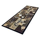 HOMEFACTO:RI Küchenläufer Küchenteppich Teppichläufer Läufer Kaffee Cafe Coffee | waschbar, Größe:ca. 60 x 180 cm, Designs:Kaffee | beige braun
