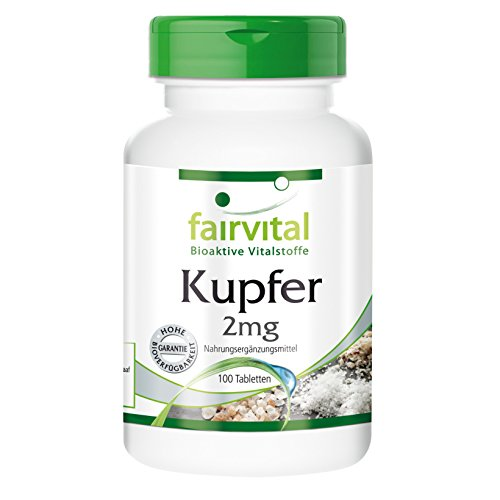 Kupfer 2mg, vegan, Reinsubstanz ohne Trennmittel, hohe Bioverfügbarkeit als Aminosäurechelat, 100 Tabletten, Großpackung, Nahrungsergänzung