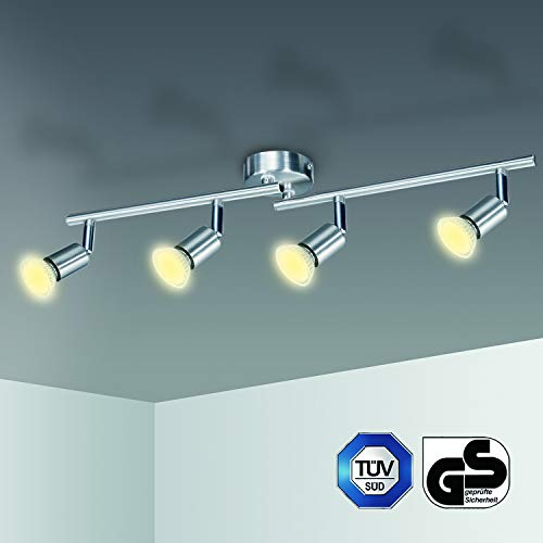 LED Deckenstrahler 4 Flammig Kimjo, LED Deckenlampe Schwenkbar inkl. 4 x 6W Warmweiß 550LM 82Ra 230V GU10 Leuchtmittel Metall Matt Nickel Deckenleuchte Küche