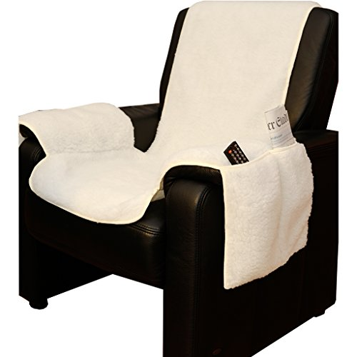 Sesselschoner Lammflor Sesselauflage Sesselbezug Sessel-Überwurf Landhaus natur
