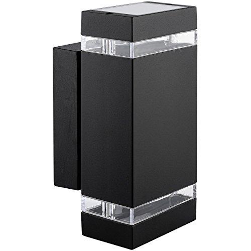 LED Wandlampe up & down [Außen-Wandleuchte IP44] Aufbau-Leuchte Alu schwarz, incl. 2x LED Leuchtmittel 5W, 230V GU10 in warm-weiss