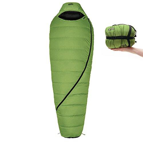 Daunen-Schlafsack Qeedo Asaka (2 Größen: M & L) / 6°C Komforttemperatur (3-Saison) / Mumienschlafsack extrem klein & leicht (Gr.M: 850g) / inkl. Kompressionssack + Aufbewahrungstasche - grün [Large]