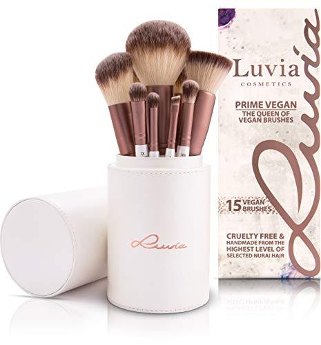 Luvia Makeup Pinsel Set - Prime Vegan - 15 Kabuki Schminkpinsel inkl. Make Up Beauty Pinselhalter & Reise Satin Schminkbeutel für Kosmetikpinsel - Perlmutt/Coffee – Brush Set