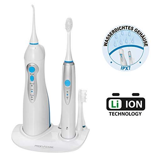 ProfiCare PC-DC 3031 Dental-Center/ 2 in 1 - Schall-Zahnbürste und Munddusche, Zahnbürste 31.000 Vibrationen/min, Munddusche 4-Stufenschalter zur Regelung des Wasserdrucks, kabellos, weiß