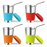 Kereda Edelstahl-Tassen mit Silikondeckel und Strohhalmen, 500 ml, 4 Stück