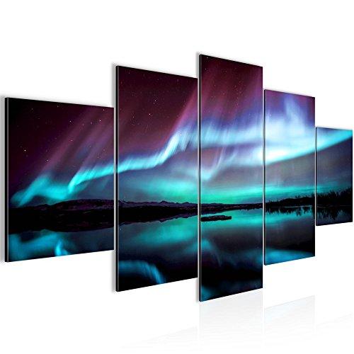 Bilder Polarlicht Wandbild 200 x 100 cm Vlies - Leinwand Bild XXL Format Wandbilder Wohnzimmer Wohnung Deko Kunstdrucke Blau 5 Teilig -100% MADE IN GERMANY - Fertig zum Aufhängen 609151b