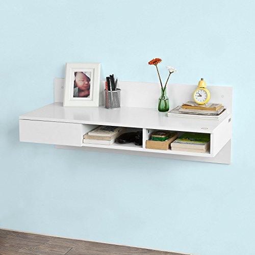 SoBuy FWT30-W Wandtisch in weiß aus MDF Wandschrank Schreibtisch Computertisch Kinderschreibtisch mit 1 Schublade