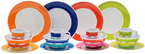 Flamefield 16-teilig Colour Works-Set aus Melamin, mehrfarbig